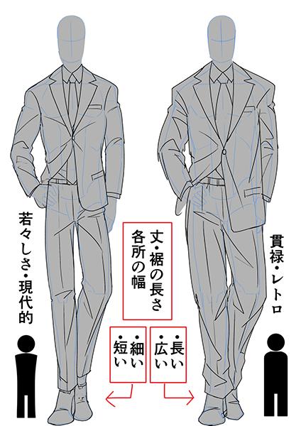 スタイリッシュなイケオジくたびれたおじさんスーツを着た男性の描き