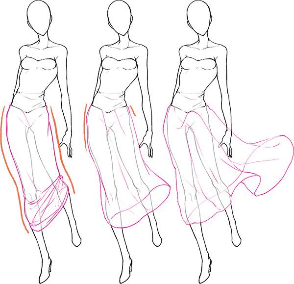 色々なポージングからスカートの動き方を考える いちあっぷ